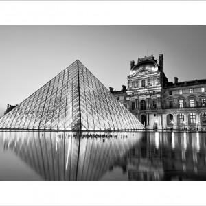 Cuadro Paris Louvre B&N