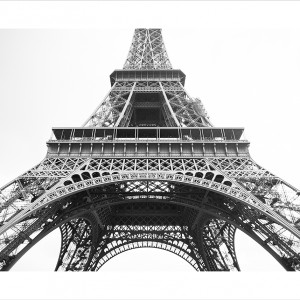 Cuadro Torre Eiffel Horizontal B&N