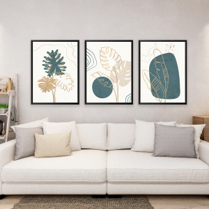 Cuadros Botánico Abstracto Verde