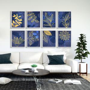 Cuadros Botánico Abstracto Azul